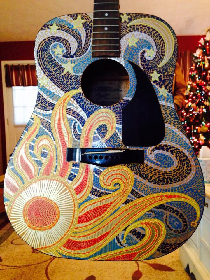 Painted Acoustic Guitar I Sanded The Guitar Drew The Design With Pencil Then Used Acrylic Paint Pens And Guitar Art Project Guitar Painting Acoustic Guitar