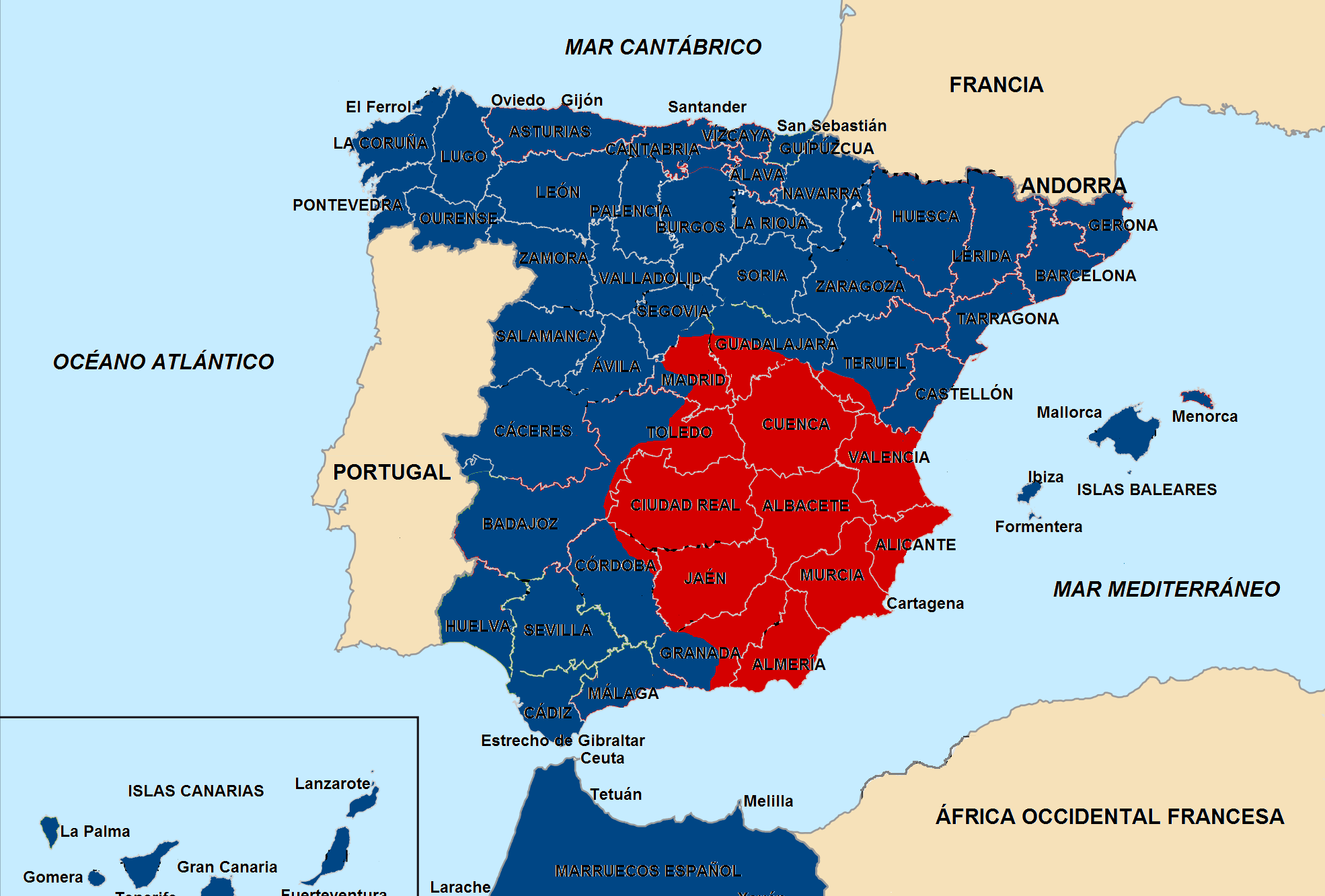 Mapa Guerra Civil Española.Pin En Incivil Guerra