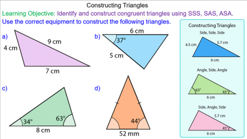 Constructing Triangles using Compasses and Protractors | Protractor ...