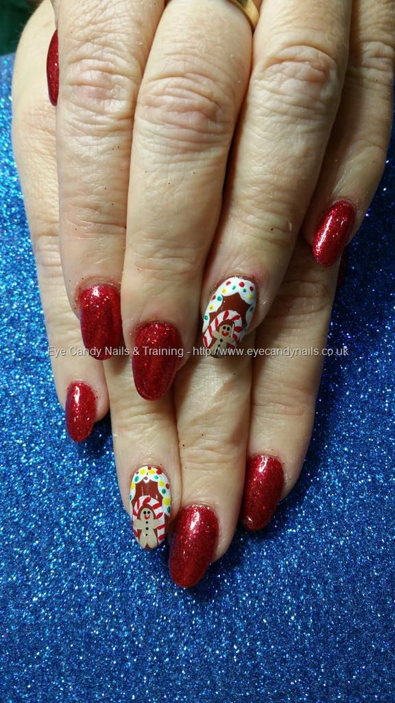Red glitter gel polish with freehand christmas gingerbread man nail ...