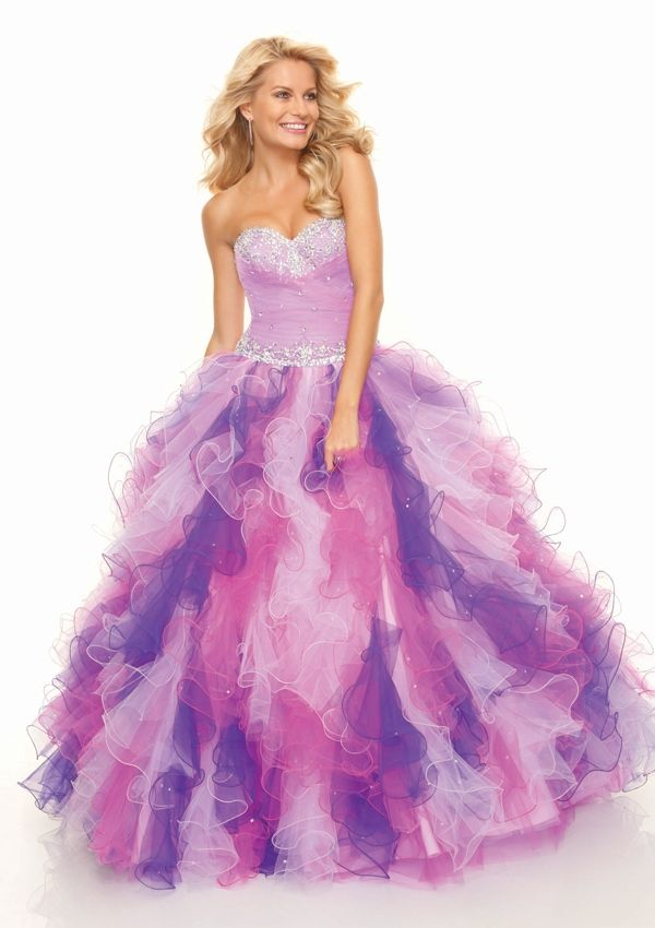 Strapless pastel purple, pink, & white ombre dress with tiered tulle ...