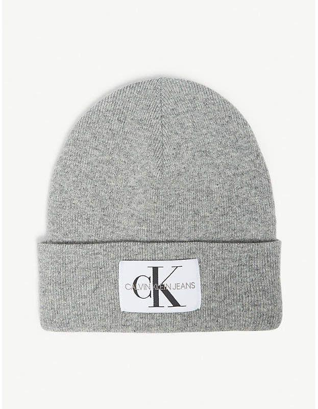 415004e1cc4 CALVIN KLEIN JEANS Logo wool-blend beanie hat in 2019