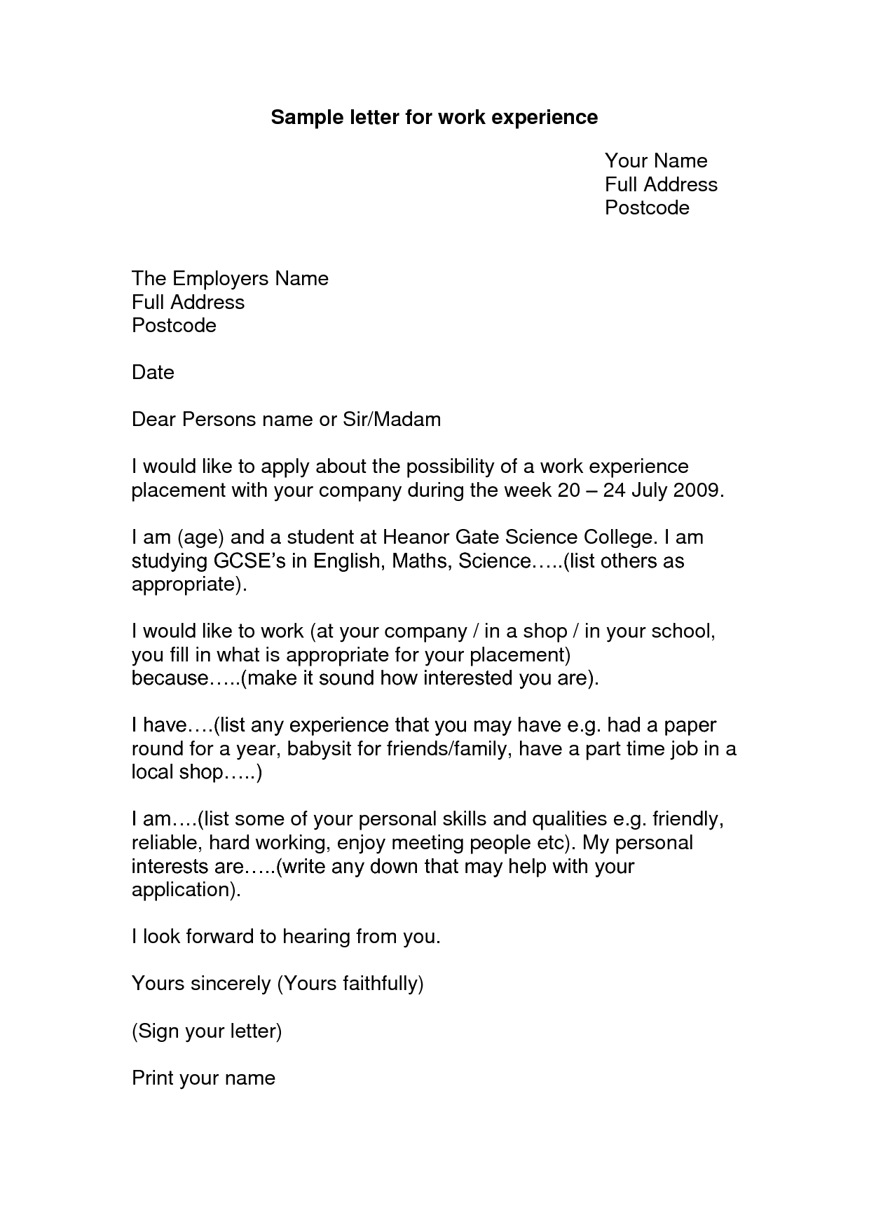 Application Letter For Work Experience Template