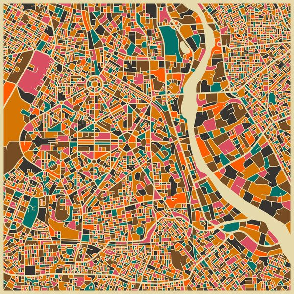 New Delhi - City Map Art Prints - by Jazzberry Blue Map1 - new world map canvas picture