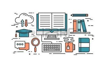 éducation nationale: Thin line flat design concept of online education, vector illustration