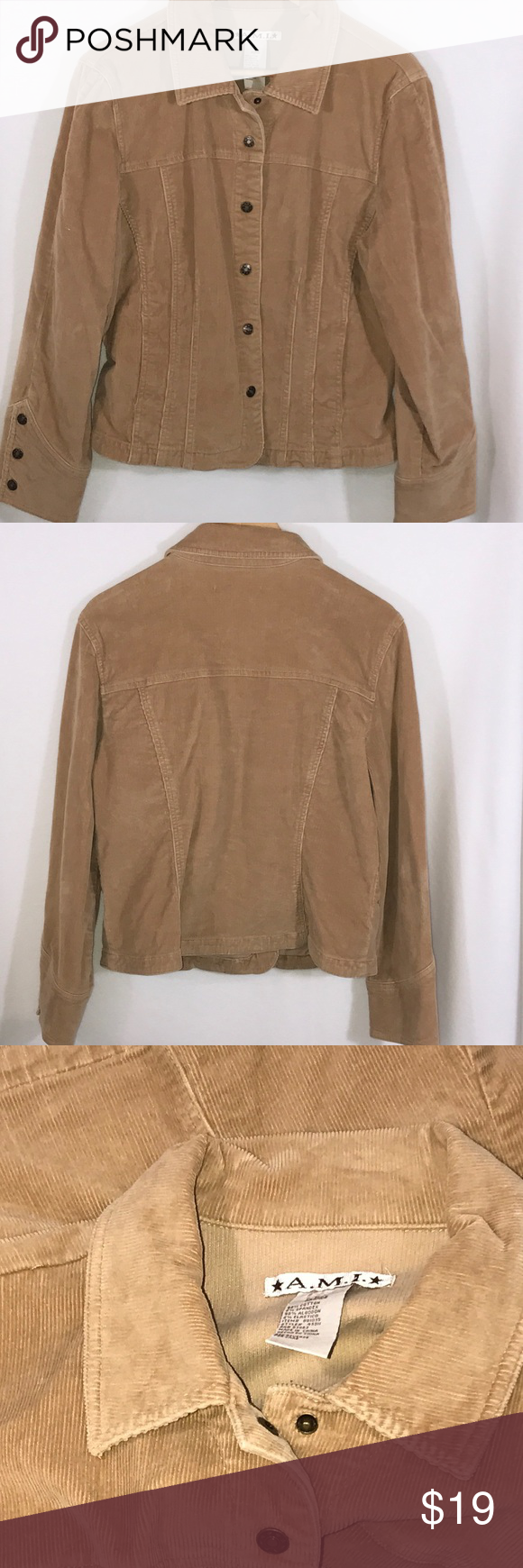 """💜 Tan Camel Corduroy Jean Jacket L Stretch Button Cute camel colored Stretch jacket, front pockets, snap front, 3 snap cuffs.  In excellent used condition. Pit to pit laying flat 21.5"""", length 22"""".   98% cotton/2% spandex. A.M.I. Jackets & Coats Jean Jackets"""