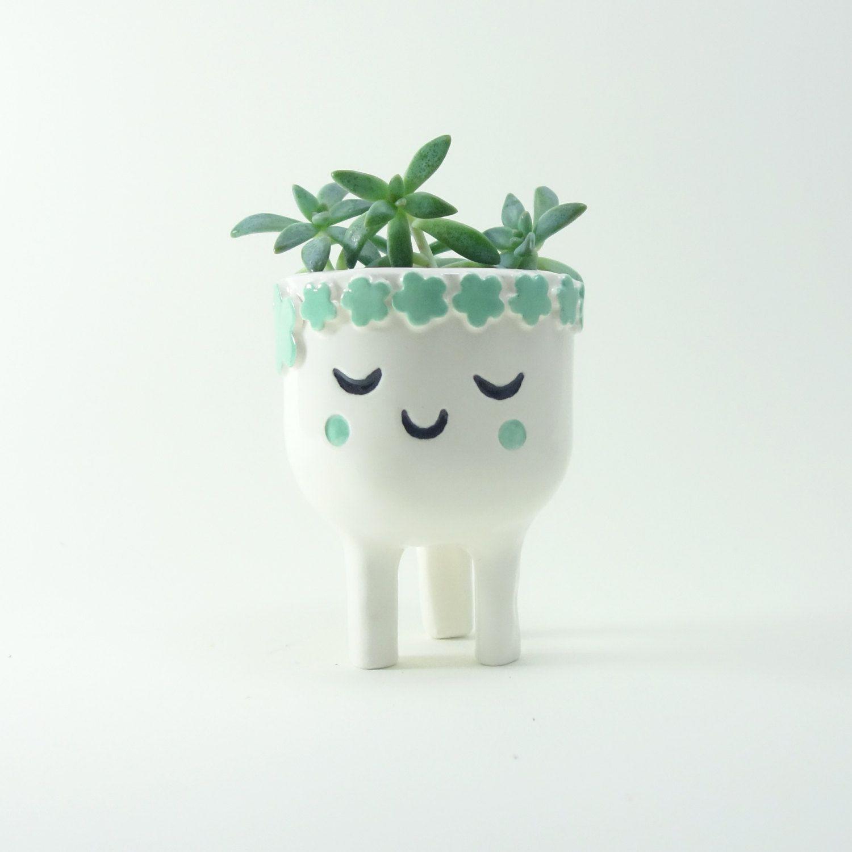 Wonderful Face Plant Pot Part - 5: Sleeping Lady Planter - Face Plant Pot - Quirky White Ceramic Planter For  Succulent Or Cactus