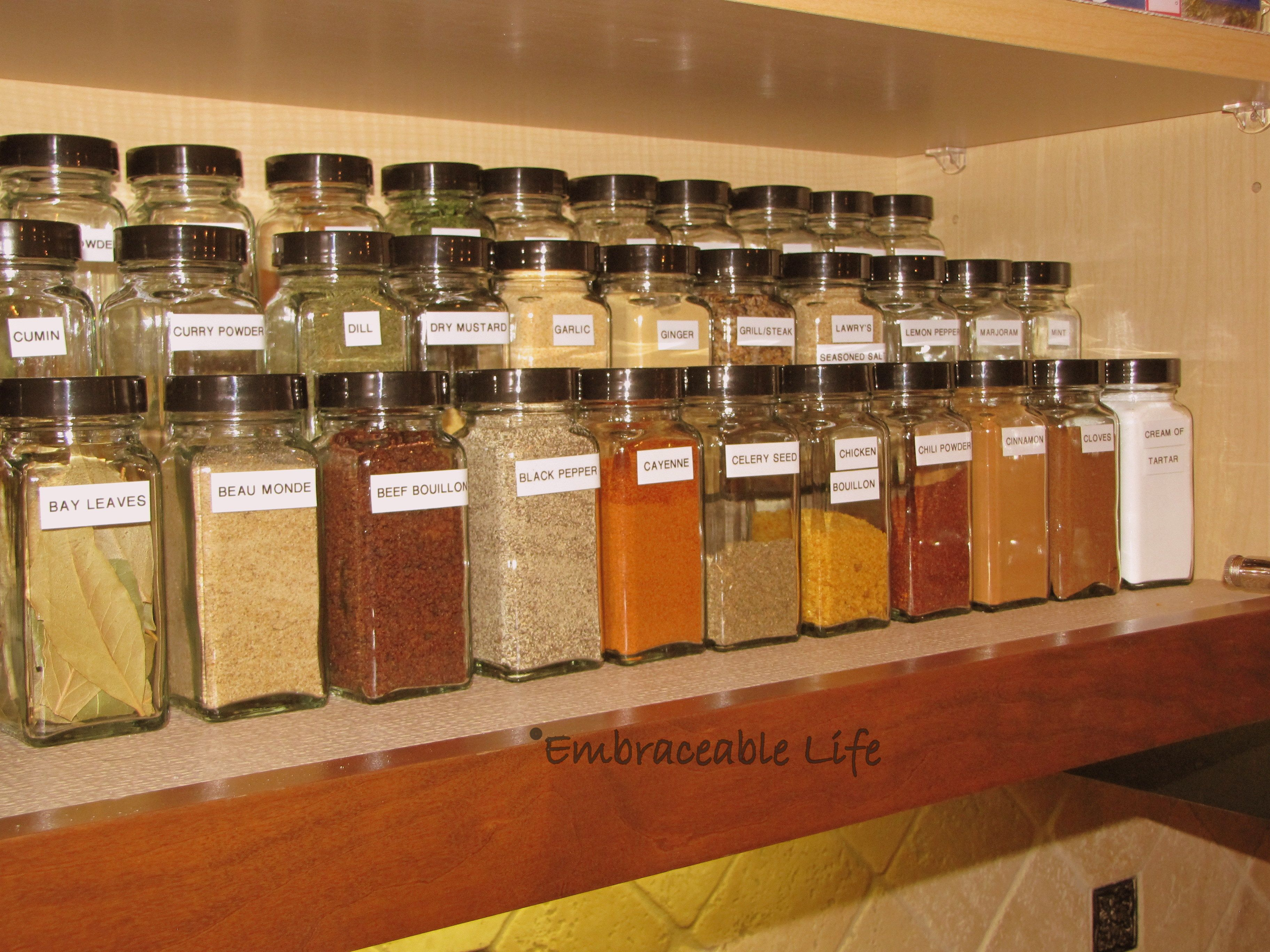 Spices I like this idea of using steps on a shelf so many herbs