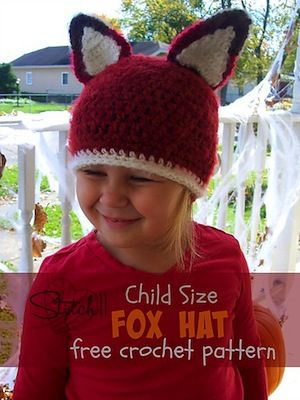 94a332d23b6 Child Size Fox Hat - Free by Corina Gray of Stitch11 Foxes   Wolves - Animal