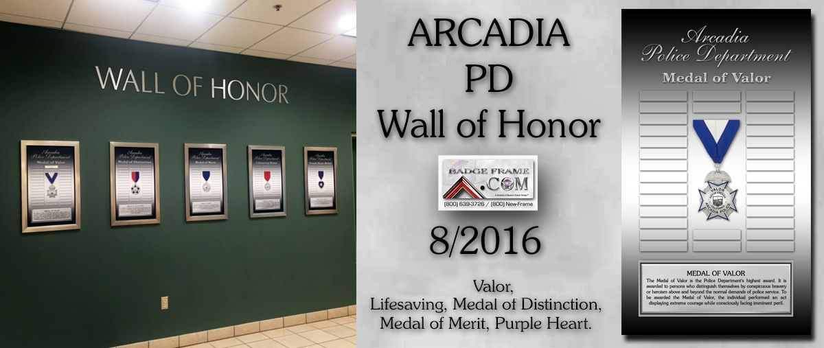 Arcadia PD - Wall of Honor Prepetual Plaques from Badge Frame ...