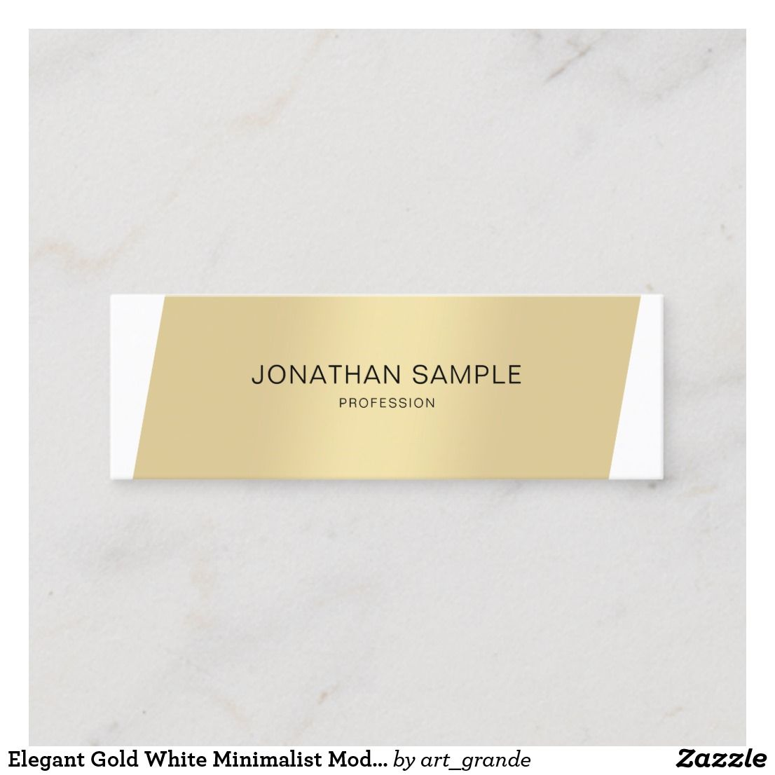 Elegant Gold White Minimalist Modern Professional Mini