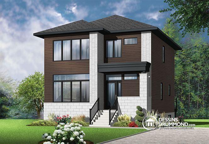 W3710-V1 - Plan de maison moderne, 3 chambres, grand vestibule - facade de maison moderne