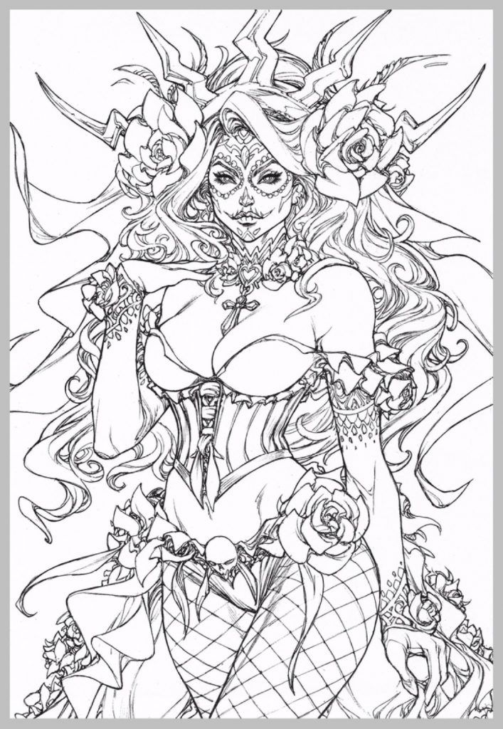 Gothic Fairy Coloring Pages #adultcoloringpages