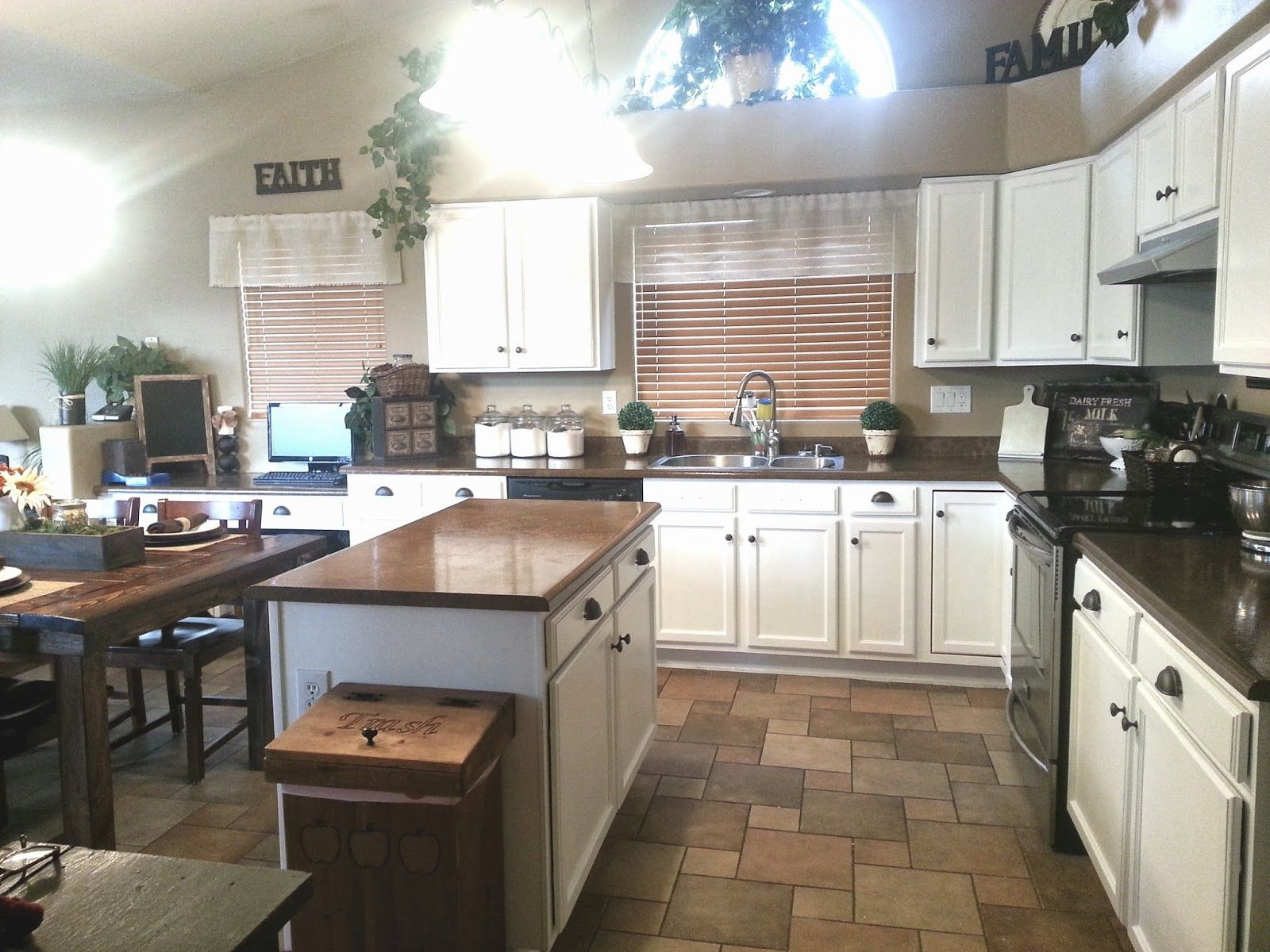 Painted Kitchen Cabinets oak to white painted laminate