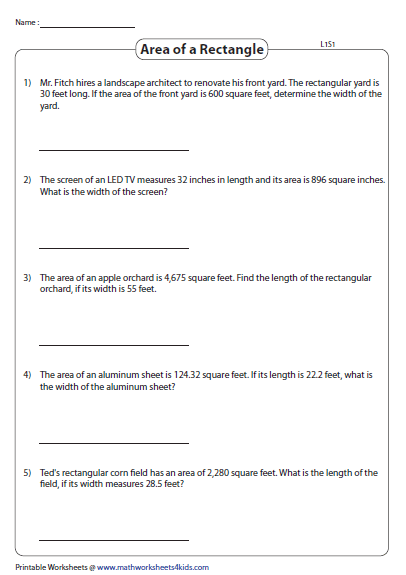Find The Missing Length Or Width Level 1 Word Problems Finding Area Rectangle Properties