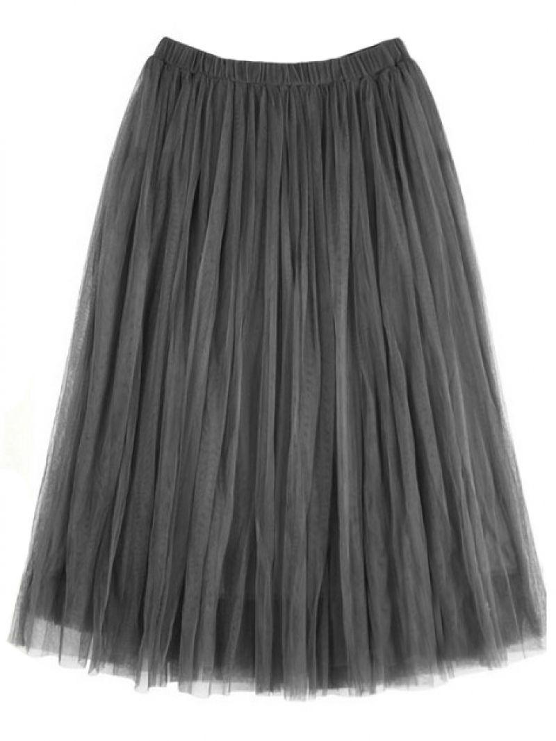 Grey Elastic Waist Pleated Skirt -SheIn(abaday)