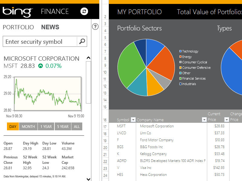my financial portfolio - templates