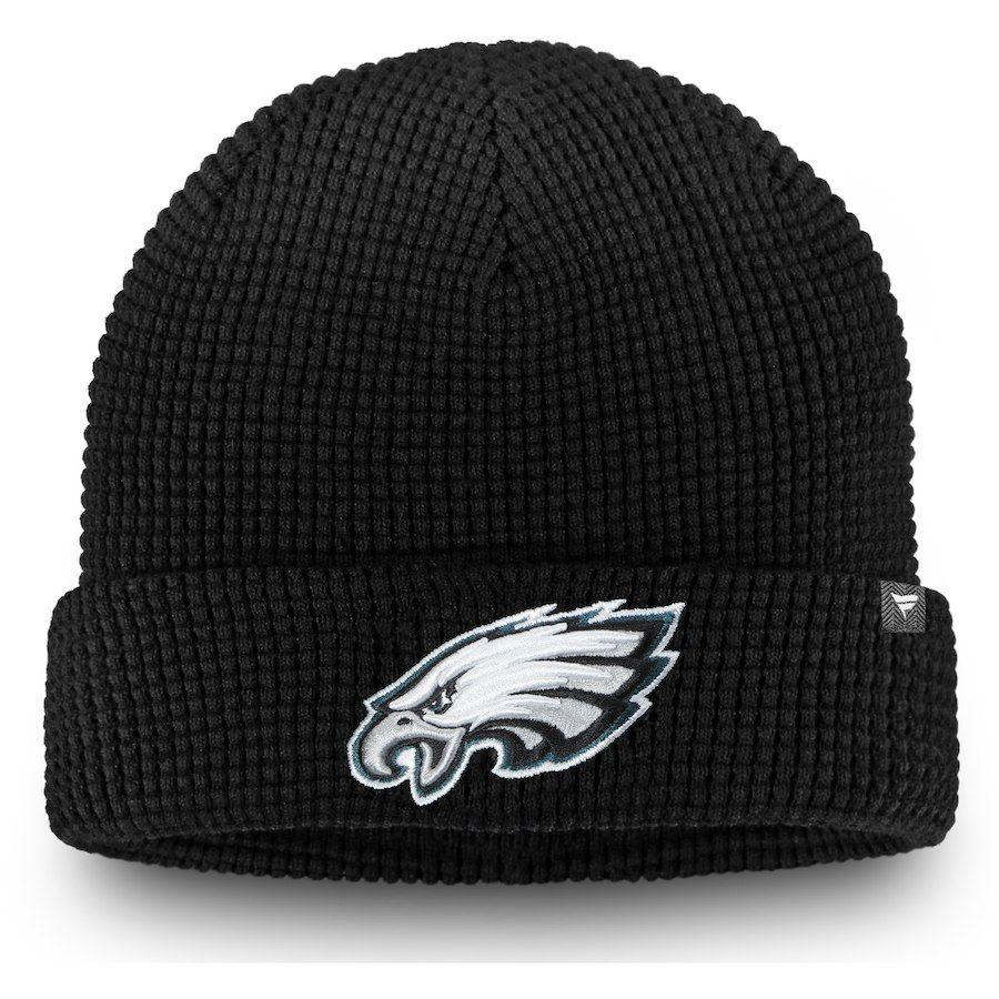 Men s Philadelphia Eagles NFL Pro Line by Fanatics Branded Black Waffle Knit  Cuffed Beanie c8a13f20ce0c