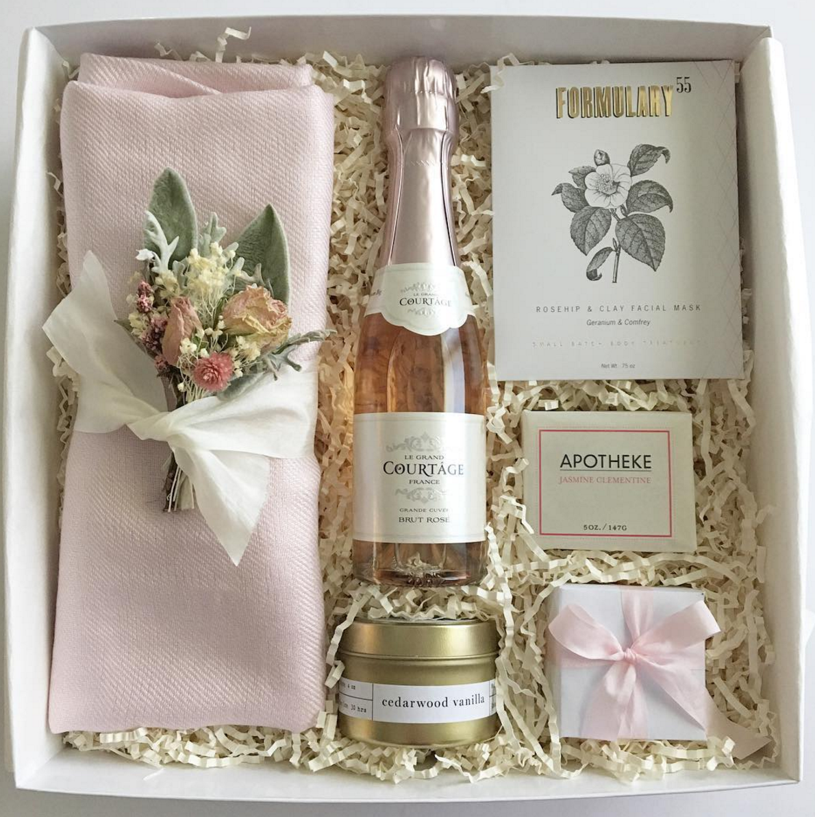 Wedding Parting Gift Ideas: Bridesmaid Gift Box Or Bridesmaid Proposal. Blush And Gold