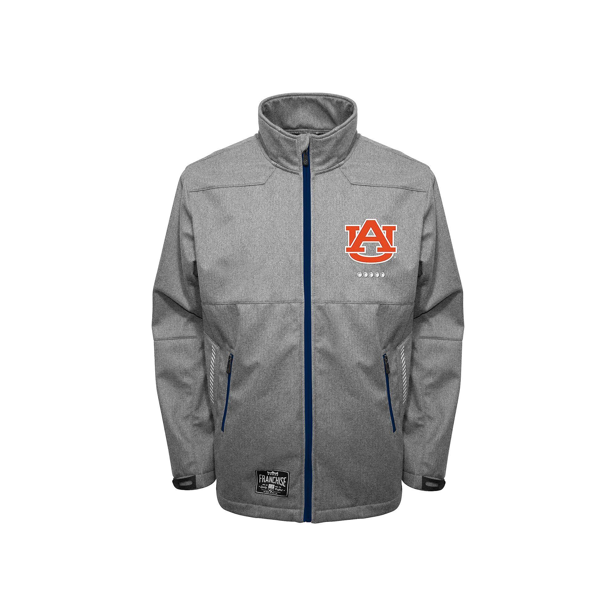 Men's Franchise Club Auburn Tigers Tech Fleece Softshell Jacket, Size: Large, Grey