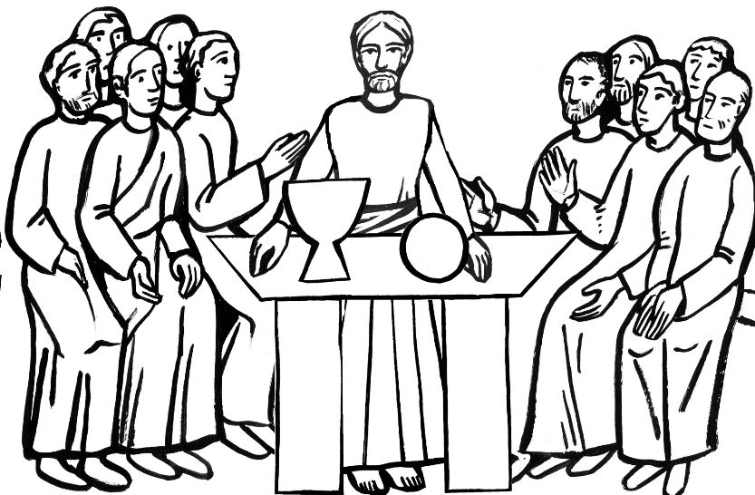 The Last Supper coloring page for Holy Thursday