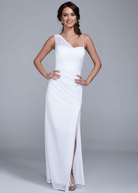 Long One Shoulder Sheer Matte Jersey Dress - David\'s Bridal ...