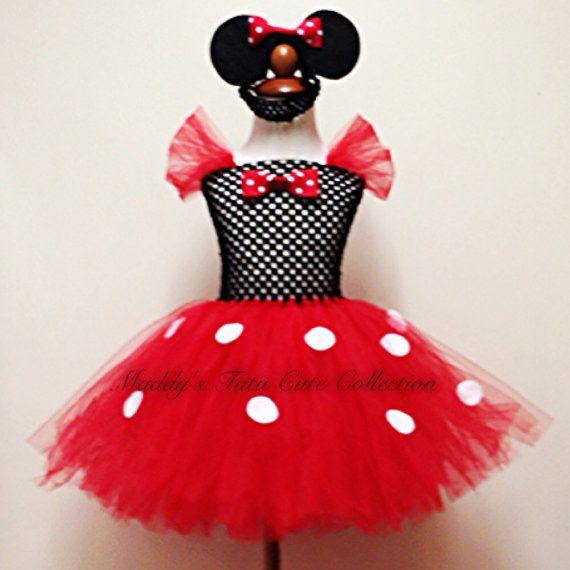 "Ladies 12/"" Mini Mouse Cyber Tutu Skirt Red /& White Polka Dot Fancy Dress"