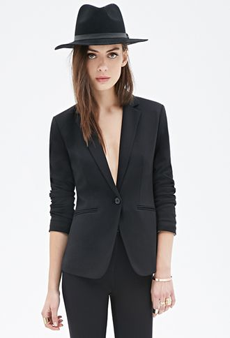 Womens Black Blazer | Forever21.com | Ladies Black Blazer, Female Black  Blazer