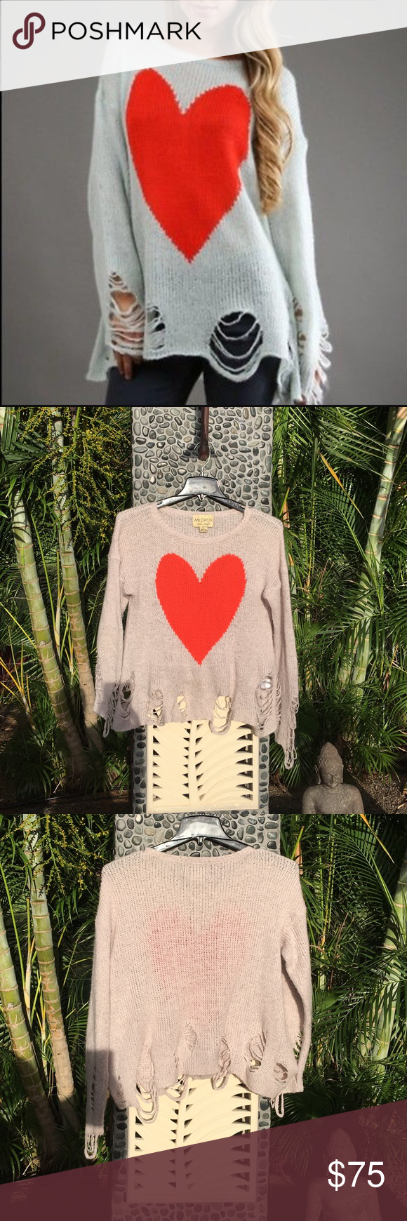 Wildfox ❤️ Bianca Jagger Lennon Sweater Super soft and lightweight Wildfox Bianca Jagger Lennon heart sweater. Gorgeous!! It's been worn a few times but is in great condition! Wildfox Sweaters