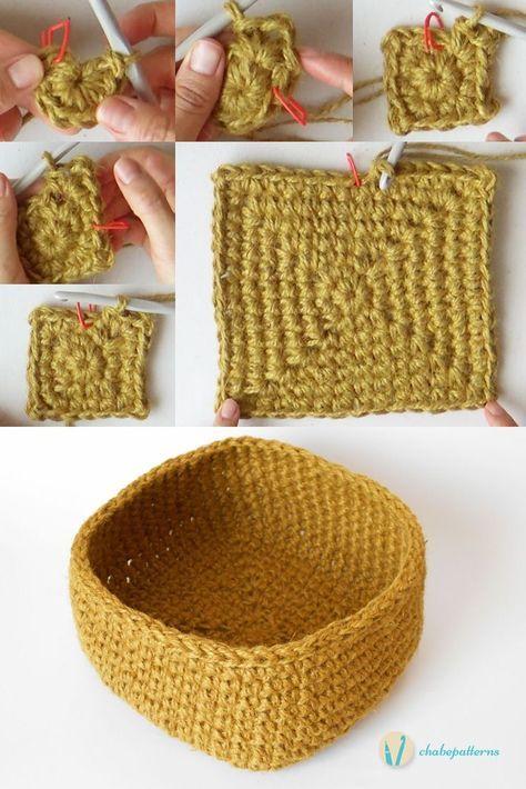 korb mit quadratischem boden h keln pinterest crochet crochet patterns und knitting. Black Bedroom Furniture Sets. Home Design Ideas