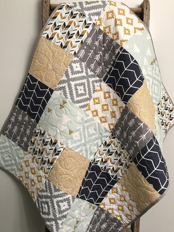 Geometric Baby Quilt, Gender Neutral Bedding, Aztec Baby Quilt, Navy Mint Gold Gray Grey Baby Quilt, Aztec Nursery, Tribal Crib Bedding is part of Aztec baby quilts, Gender neutral baby blanket, Neutral baby quilt, Gender neutral bedding, Baby quilts, Baby boy quilts - 31RubiesQuiltStudio ref sellerplatformmcnav&section id 18975603 Thanks for looking!!