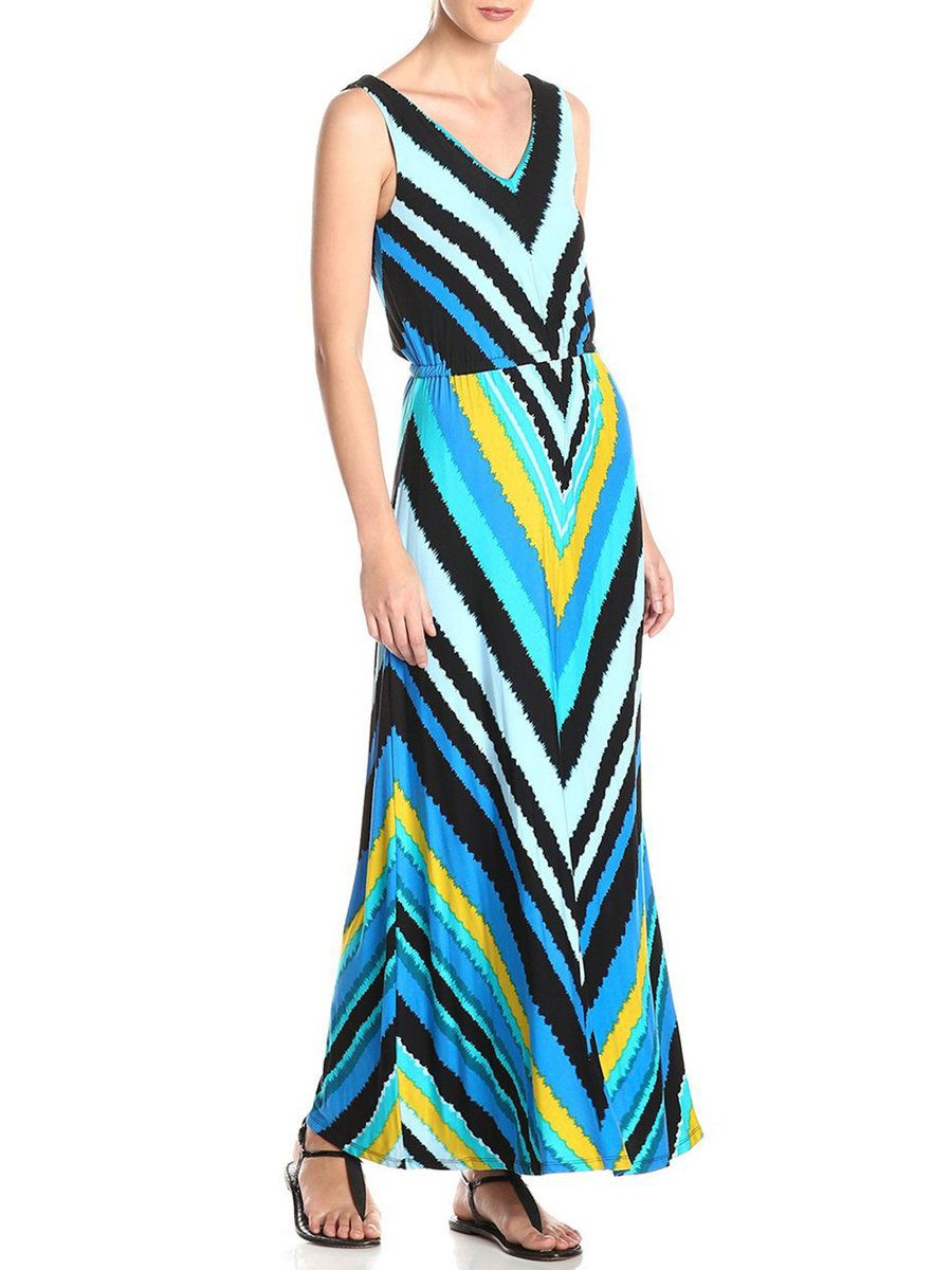 #AdoreWe #JustFashionNow Beach Dresses❤️Designer XSD Blue Geometric Printed A-line V Neck Maxi Dress - AdoreWe.com