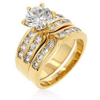 18k Gold Plated Engagement Ring Set with Channel and Prong Set Round Cut Clear Cubic Zirconia Polished into a Lustrous Goldtone Finish