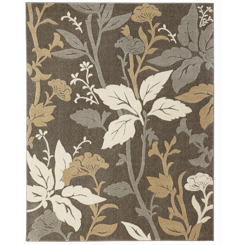 Home Decorators Collection Blooming Flowers Gray 8 Ft X 10 Ft Area Rug 25467 Area Rugs Blooming Flowers Floral Area Rugs