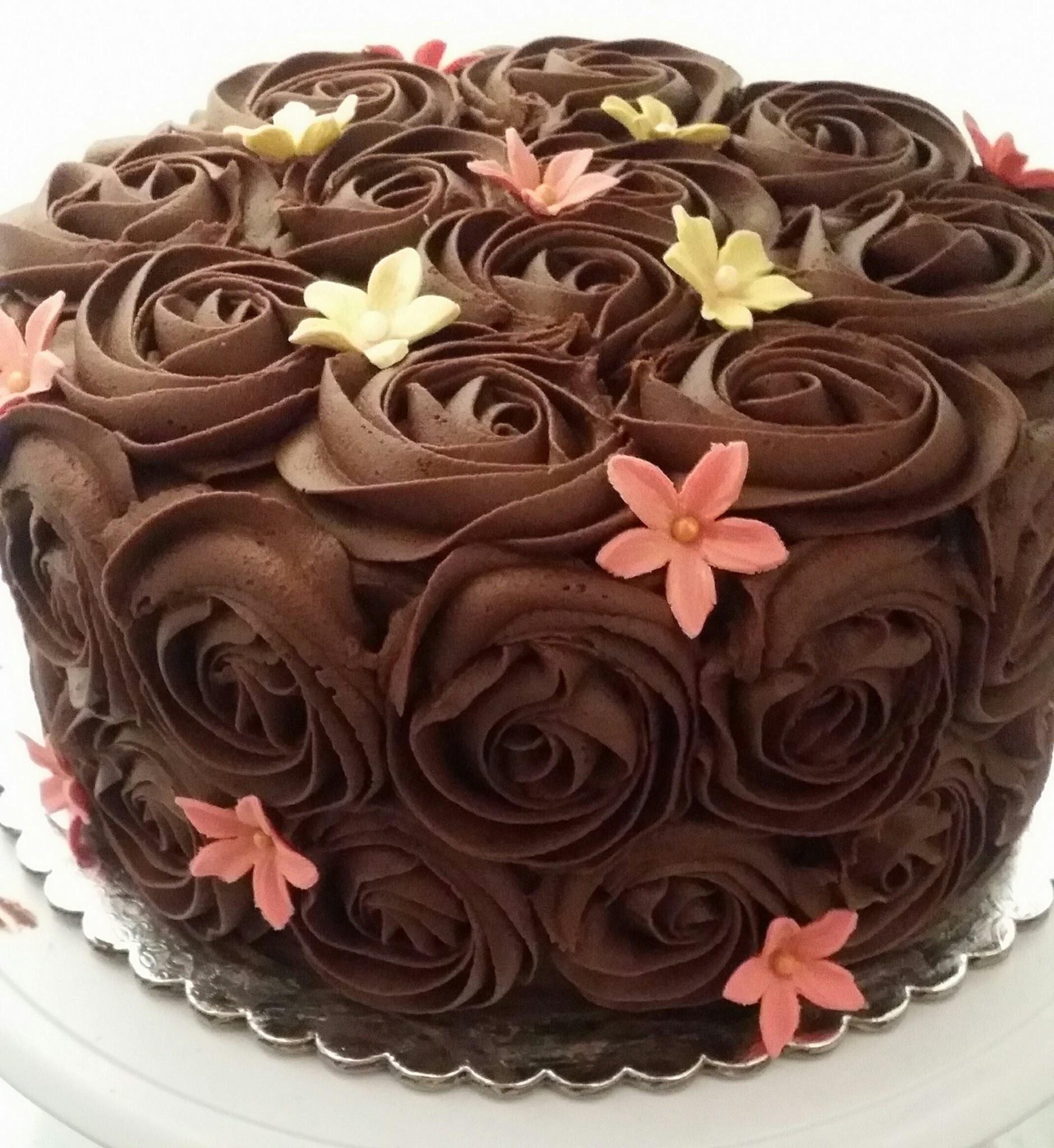 Chocolate Buttercream Rose Swirl Fondant Flower Decorations My
