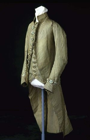 3-piece suit, 1795. Green striped silk taffeta with cream satin stripes, thread covered buttons.