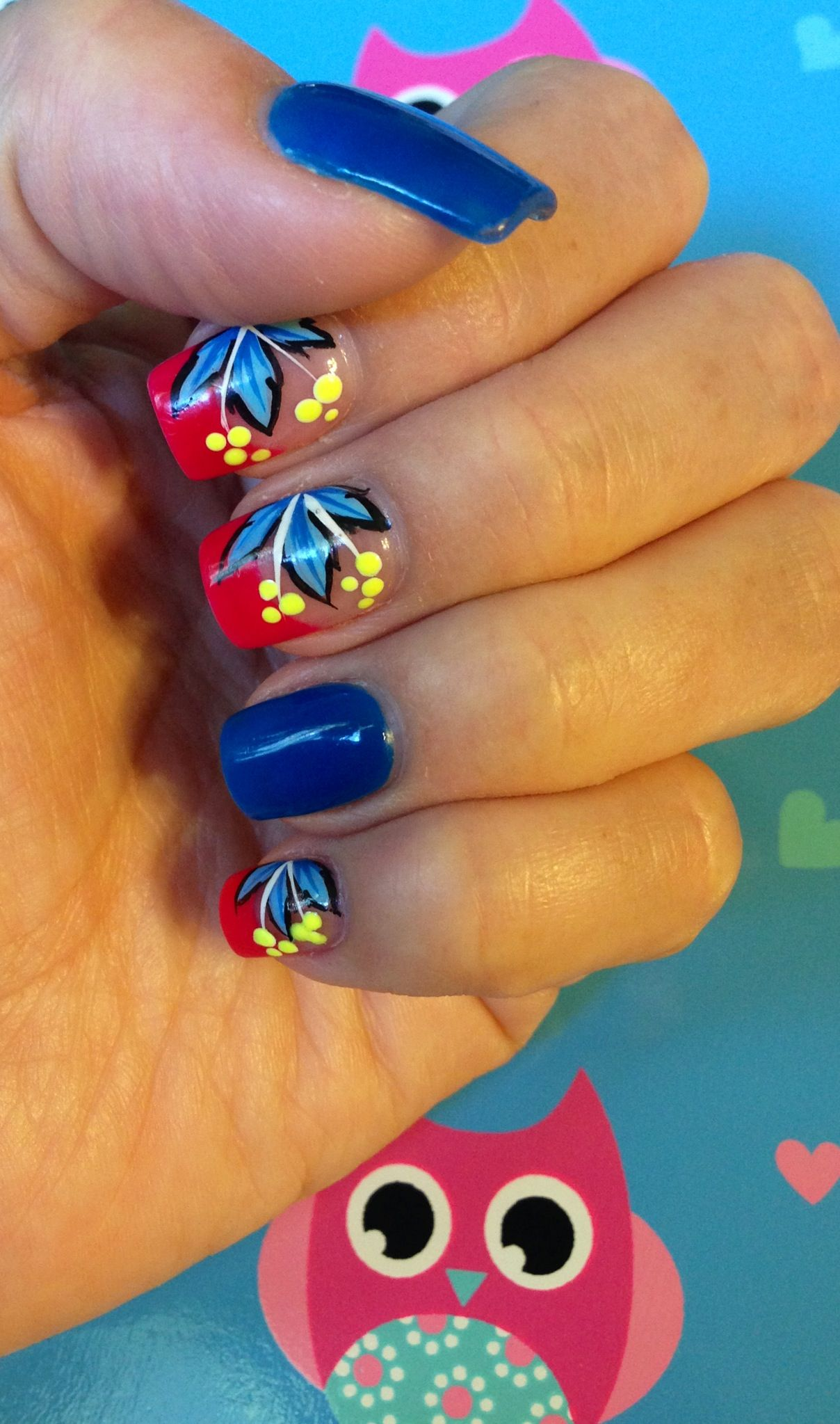 Right hand - nail art; summer fun. By Keri.