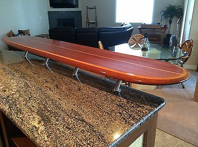 Marvelous WOOD SURFBOARD BAR TABLE WALL HANG ART DECOR