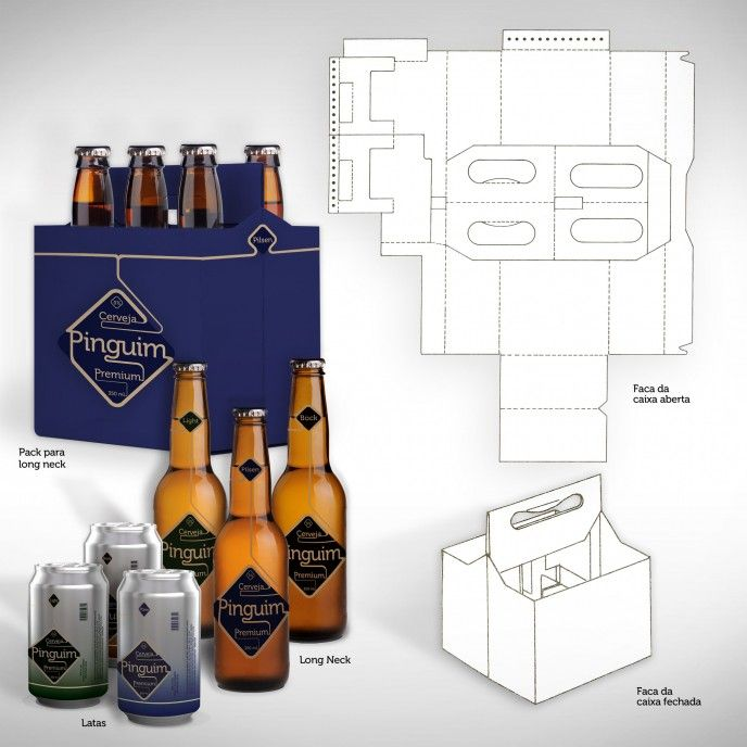 Faca de corte cerveja pinterest template packaging for 6 pack beer carrier template