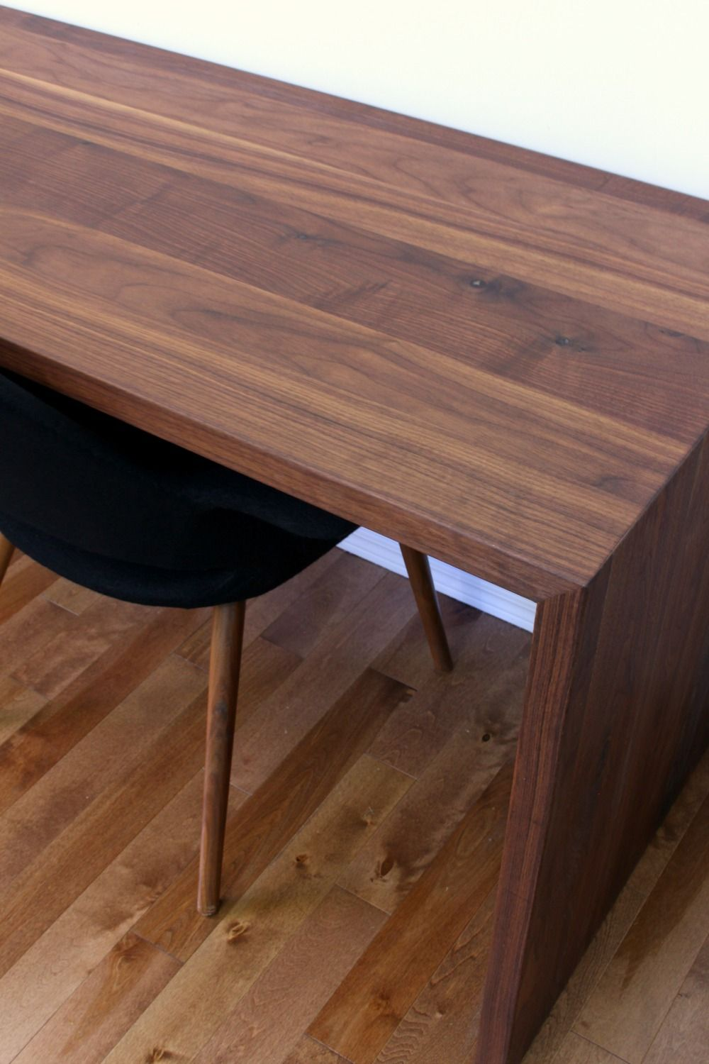 Diy Solid Walnut Waterfall Desk For Two Mid Century