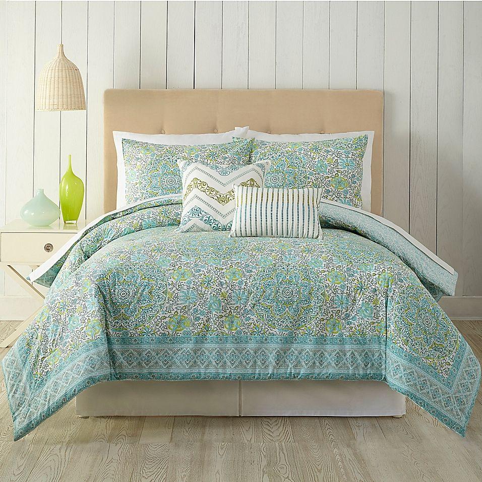 Indigo Bazaar Stamped Indian Floral Queen Comforter Set In Aqua