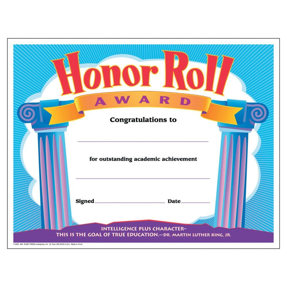 Present these certificates to students with exceptional grades! Add these awards to your classroom supplies for the hardworking honor roll students. Printer-compatible and ready to frame. Paper. (30 pcs. per set) 11