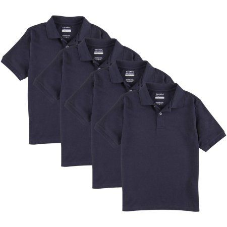 George Boys School Uniforms Short Sleeve Pique Polo Shirts 4 Pack