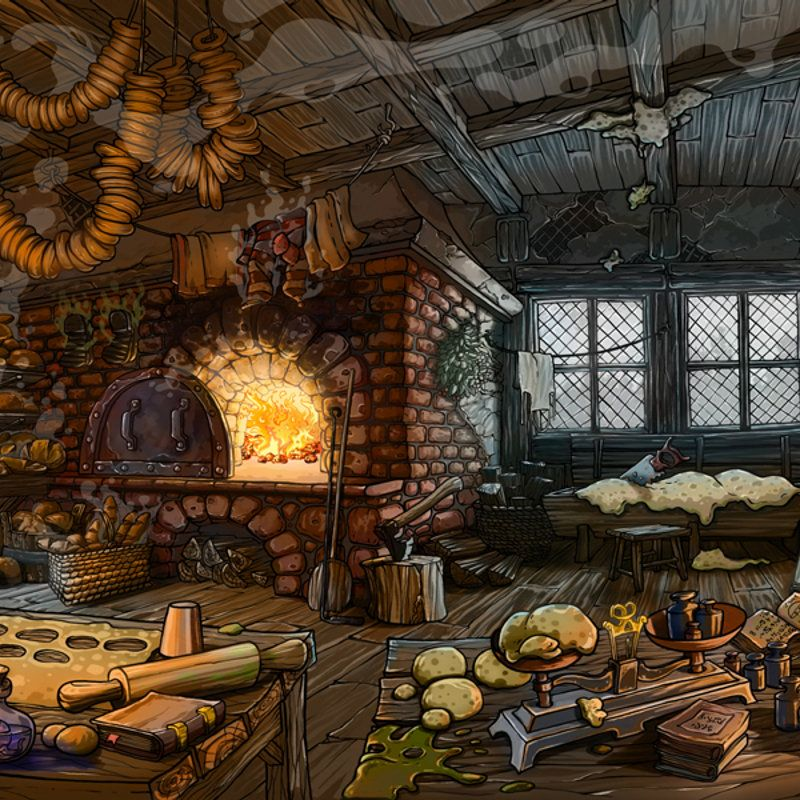 Bakehouse For The Day Before Breakfast Point And Click Adventure Game Game Concept Art Fantasy Landscape Concept Art