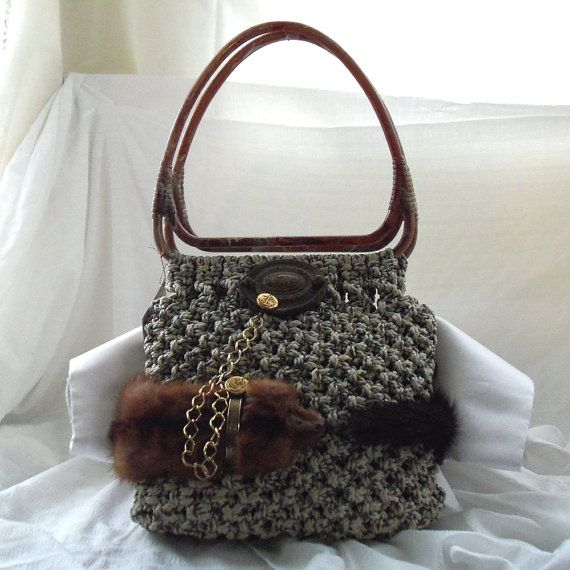 Woven purse steam punk hobo with vintage mink on leash antique door handle and chain OOAK avant garde & Woven purse #steam punk #hobo with #vintage #mink on leash ...