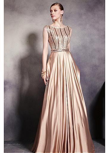 In Stock Elegant Satin & Transparent Net & Matte Silk Like & Beaded Tulle Bateau Neck A-line Long Prom Dress