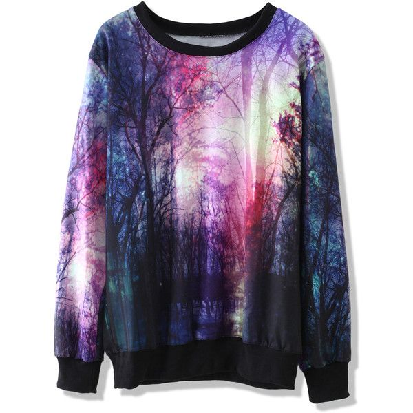 Chicwish Twilight Print Sweater (€35) ❤ liked on Polyvore featuring tops, sweaters, shirts, jumpers, multi, blue jumper, galaxy shirt, print shirts, pattern shirts and wrap shirt