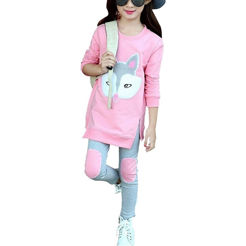 Little Girls Cute Long Sleeve Top /& Pant Clothes Set