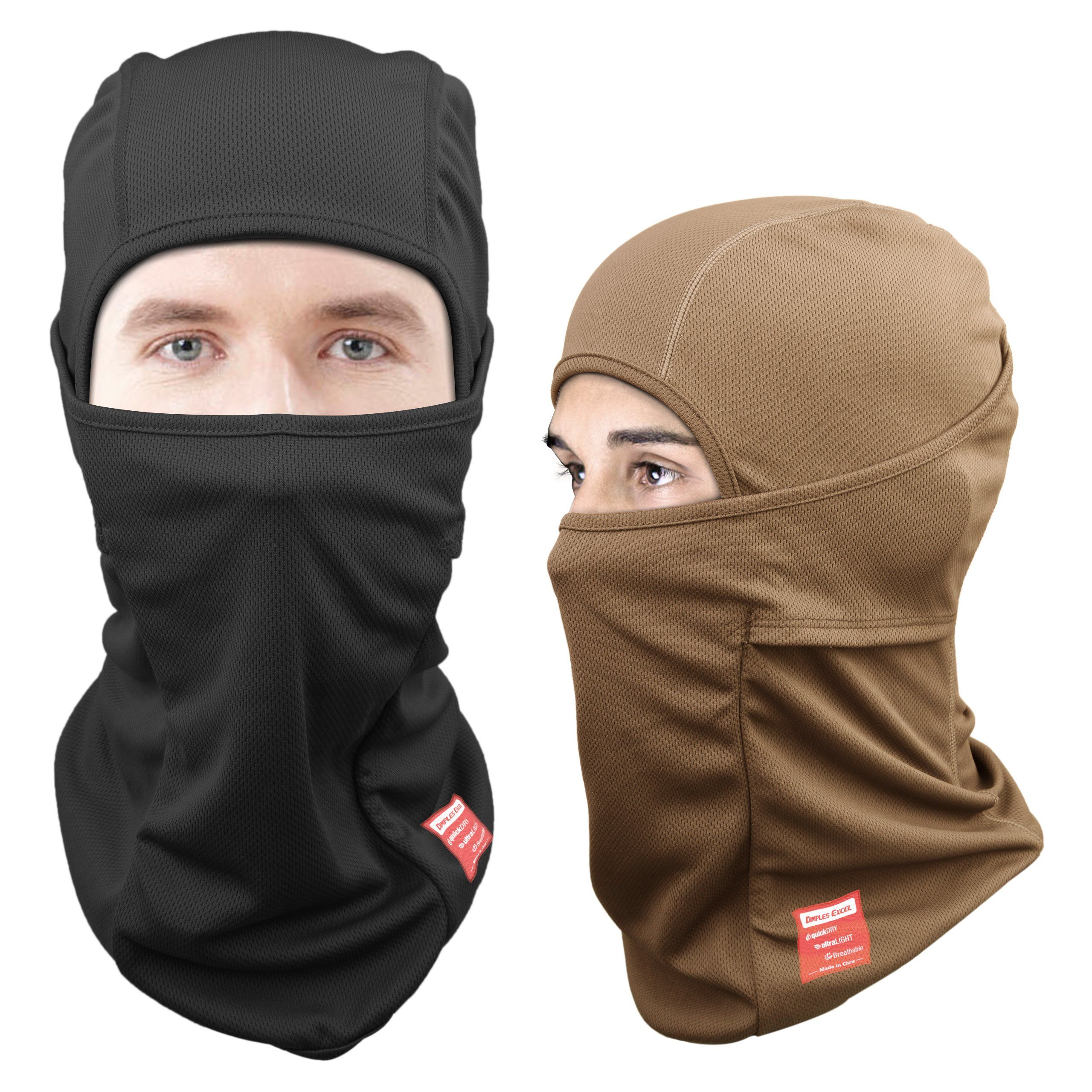 Dimples Excel Balaclava Motorcycle Tactical Skiing Face Mask [2 PACK ...