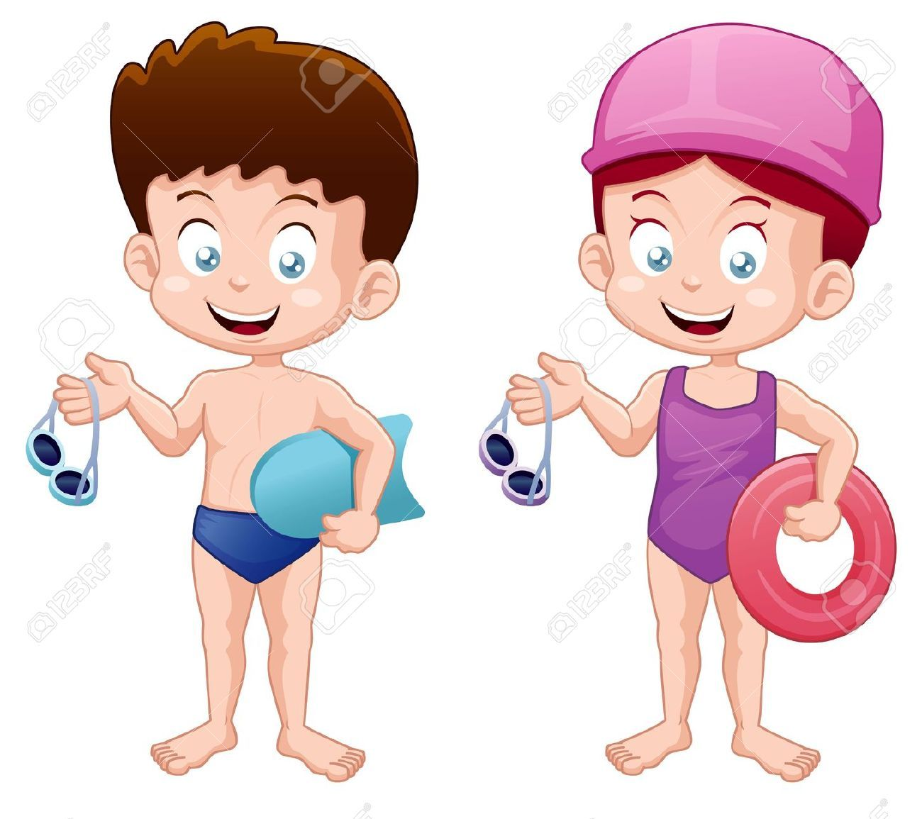 Illustration Of Little Kids In Swimming Suit